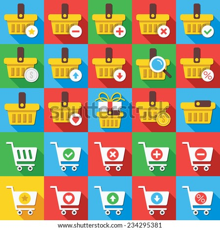 Round vector flat icons set with long shadow for web and mobile apps. Creative colorful modern design illustrations, concepts. Supermarket shopping carts, yellow basket icons, symbols, elements. - stock vector