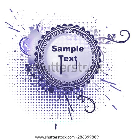Round vector frame in grunge style on blue-violet background and empty space for your text. - stock vector