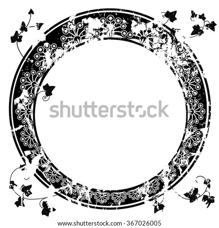 round vector frame with ivy in black and white colors - stock vector