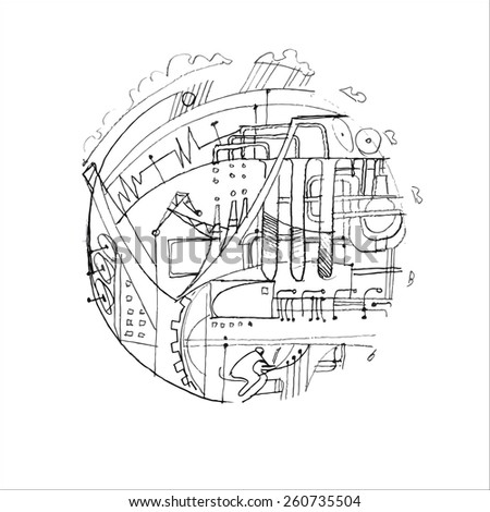 Round Vector Illustration On White Background The Subject Of Modern Science Computer Technology