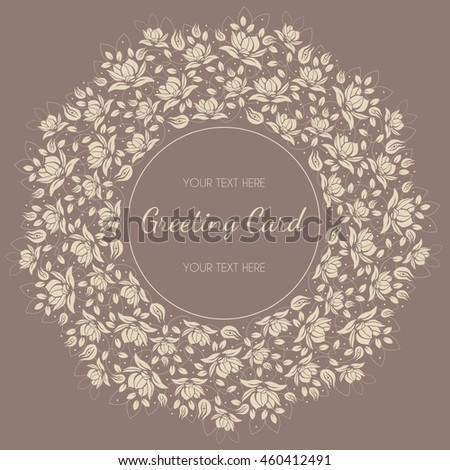 Round vector invitation card elegant flowers stock vector 460412491 round vector invitation card with elegant flowers and leaves wedding invitation stopboris Choice Image