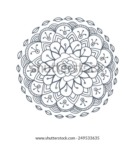 Round vector ornament. Geometric circle element. Hand drawn. Graphic template for your design