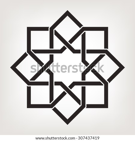 Round vector ornament with overlapping geometric shapes. Eight pointed circular pattern. Mandala.  - stock vector