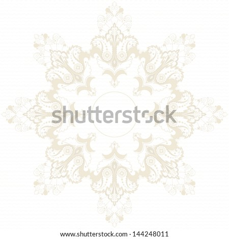 Round vector pattern with paisley floral elements. - stock vector