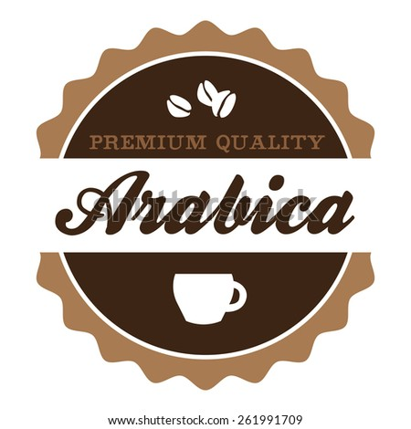 Round vintage Arabica coffee Label with coffee cup and coffee beans silhouette. - stock vector