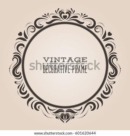 Round Vintage Ornate Border Frame Victorian Stock Vector 601620644 ...