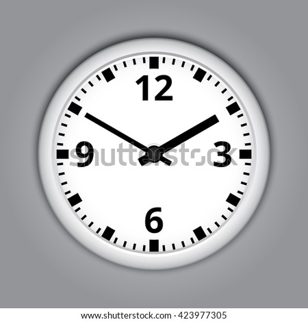 Round wall clock on grey background. - stock vector