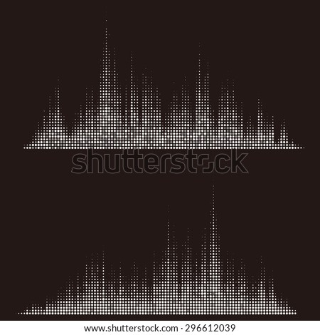 Round waveform background. Black and white halftone vector sound waves. You can use in club, radio, pub, party, DJ, concerts, recitals or the audio technology advertising background. - stock vector