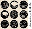 round weather icons - stock vector