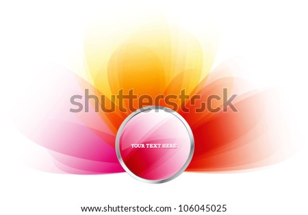 Round web glossy pink vector badge - stock vector