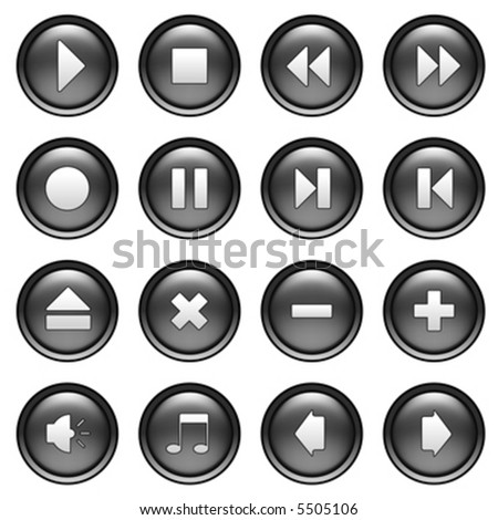 round web shiny buttons with multimedia icons