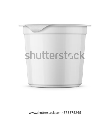 Round white glossy plastic pot with foil cover for yogurt, cream, dessert or jam. 125 ml. Realistic packaging mockup template. Side view. Vector illustration.