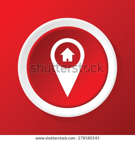 Round white icon with image of map pointer with house picture, on red background