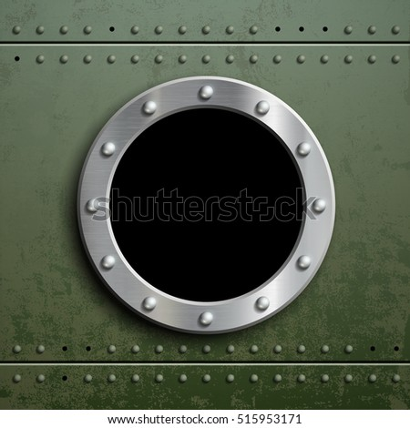 Round window porthole on green metal background. Military armor with camouflage. Stock vector illustration