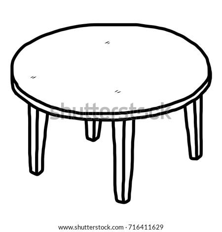 wooden table cartoon vector illustration black stock vector 241408402 shutterstock. Black Bedroom Furniture Sets. Home Design Ideas