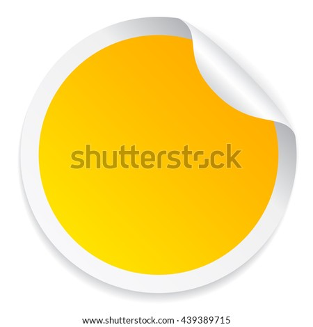 Round yellow sticker vector illustration isolated on white background - stock vector