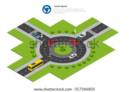 Roundabout icon. Roundabout City traffic. Roundabout Asphalted Road Circle. Roundabout isometric. Roundabout illustration. Roundabout cars. Roundabout  big. Roundabout. Roundabout 3d - stock vector