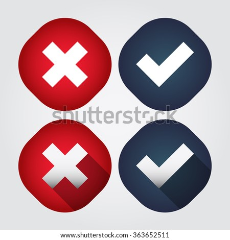 Rounded Check Mark - Red - Navy