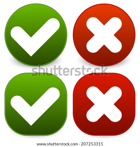 Rounded checkmark and cross symbols - stock vector