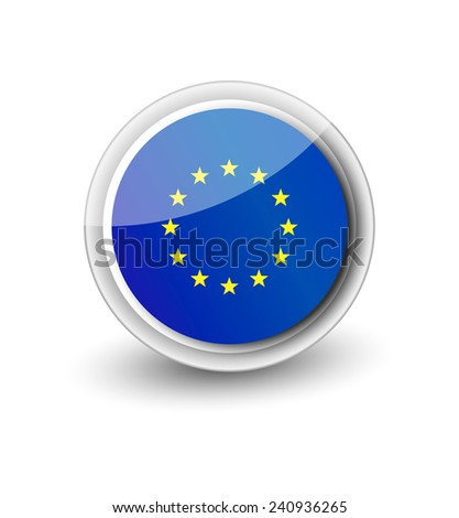 Rounded flag icon of EU isolated on white - stock vector