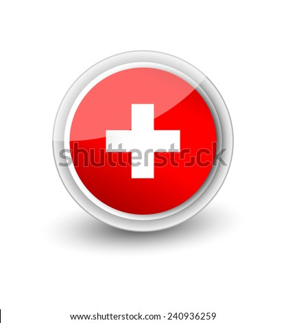 Rounded flag icon of Switzerland isolated on white - stock vector