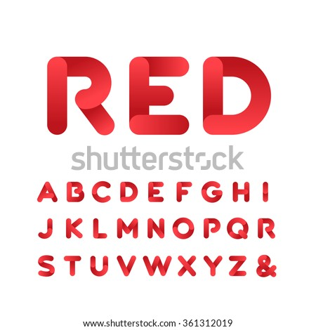 Rounded font. Vector alphabet with gradient effect letters. - stock vector