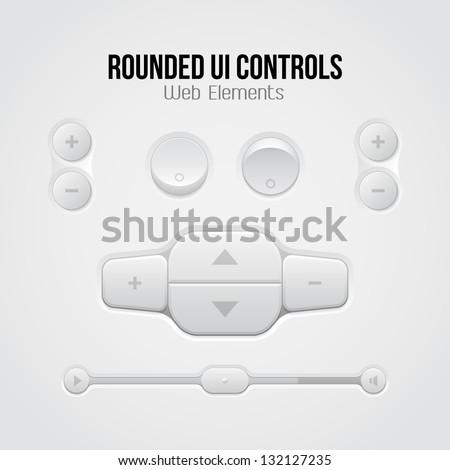 Rounded Light UI Controls Web Elements: Buttons, Switchers, On, Off, Player, Audio, Video: Player, Volume, Equalizer, Slider, Loader, Progress Bar, Navigation - stock vector