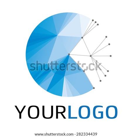 Rounded logotype isolated on white for different companies, as web agency, start-up, software house, engineering, R&D, chemical, pharmaceutical industry, new business, consulting, optimization - stock vector