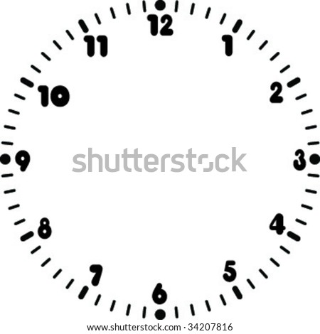 Rounded numeral clock face. - stock vector