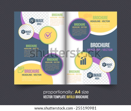 Rounded Shapes Style Bi-Fold Brochure Template. Corporate Leaflet, Cover Design - stock vector