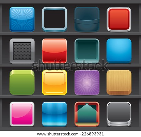 Rounded square buttons - stock vector