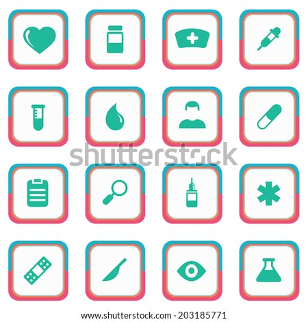 Rounded Styles Medical icons set 16 in 1