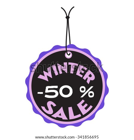 Rounded tag with the text winter sale written on the tag - stock vector