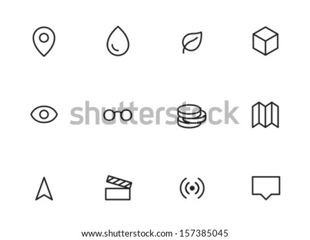 Rounded Thin Icon Set 01 - Geotag, Drop, Leaf, Box, View, Glasses, Coins, Map, GPS, Movie, Signal, Tool tip - stock vector