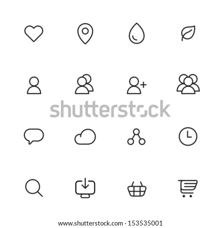 Rounded Thin Icon Set 02 - Menu Icons - stock vector