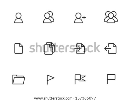 Rounded Thin Icon Set 01 - User, Group, Document, Import, Export, Folder, Flag - stock vector