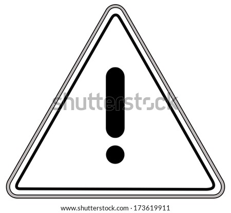 Rounded triangle shape hazard warning sign with exclamation mark symbol. Vector illustration - stock vector