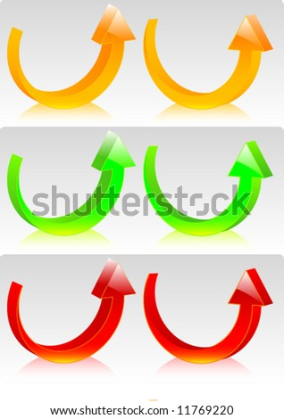 Rounded vector glossy arrows set (collection) left and right 3d orientation - stock vector
