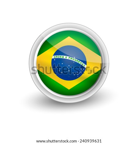 Rounded waving flag of Brazil  - stock vector