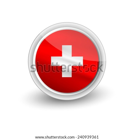 Rounded waving flag of Switzerland - stock vector