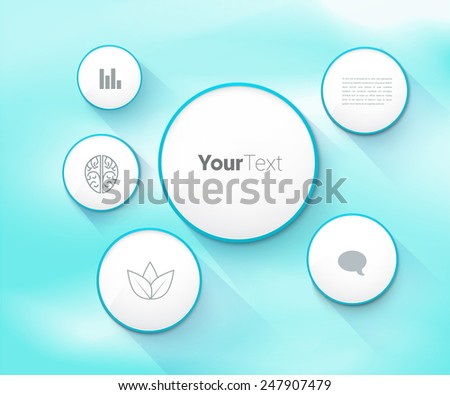 Rounds Frame Scalable & Adjustable Vector Textbox Collection on a Bright  Blue Clouds Sky Background.. Modern Eps10 Composition for Advertisement and Education - stock vector