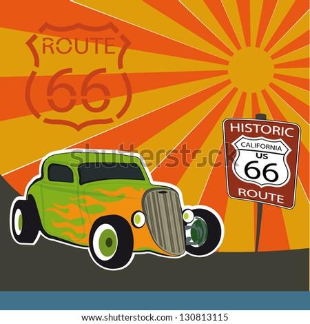 Route 66 California - stock vector