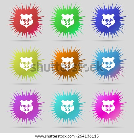 Route 55 highway icon sign. A set of nine original needle buttons. Vector illustration - stock vector