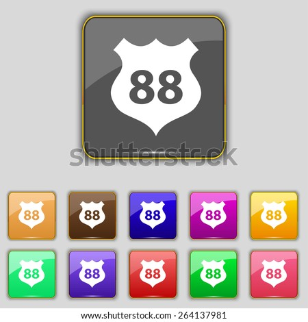 Route 88 highway icon sign. Set with eleven colored buttons for your site. Vector - stock vector