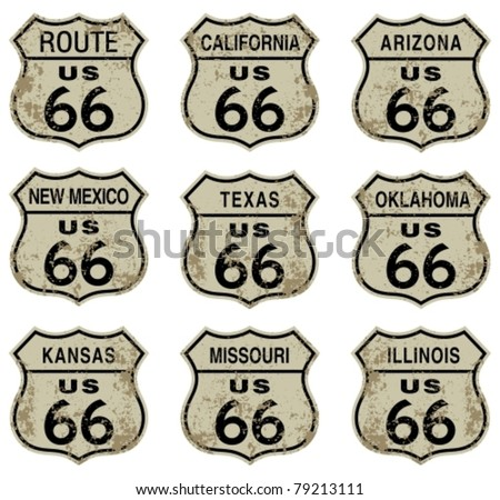 Route 66 highway signs. - stock vector