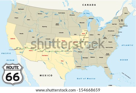 route 66 map - stock vector