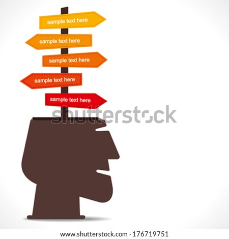 route or other information direction arrow in human head concept vector - stock vector