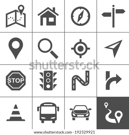 Route planning and transportation icon set. Maps, location and navigation icons. Vector illustration. Simplus series - stock vector