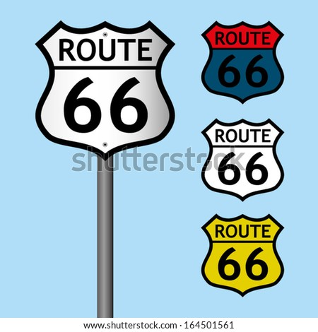 Route 66 Road Signs Set - stock vector