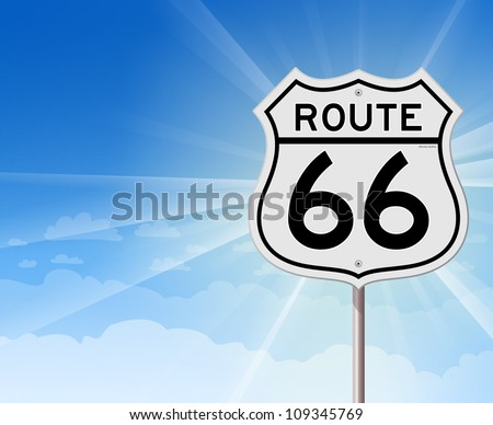 Route 66 Roadsign on Blue Sky - Illustration of blue cloudy background with Route 66 Sign in foreground - stock vector